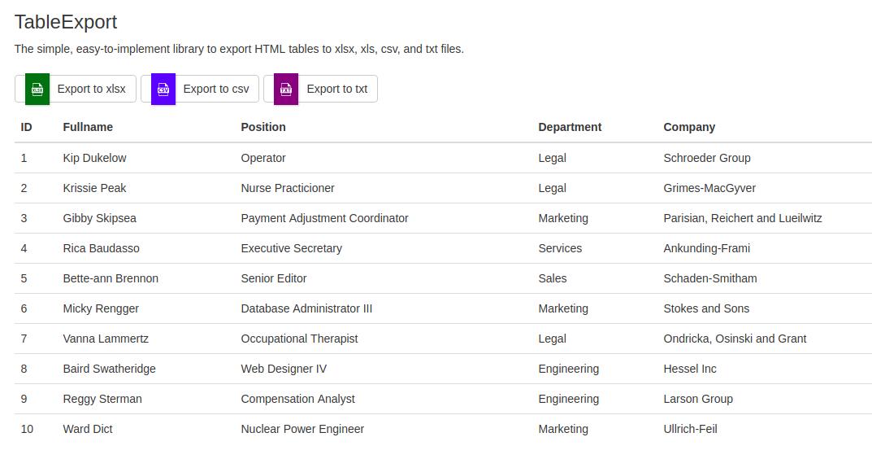 Export ข้อมูลอย่างง่ายด้วย TableExport js Javascript Library